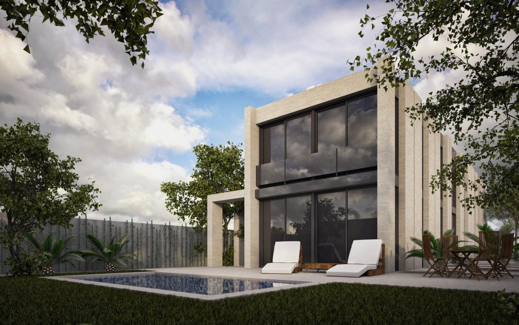 Habitatge unifamiliar aïllat obra vista façana principal i piscina