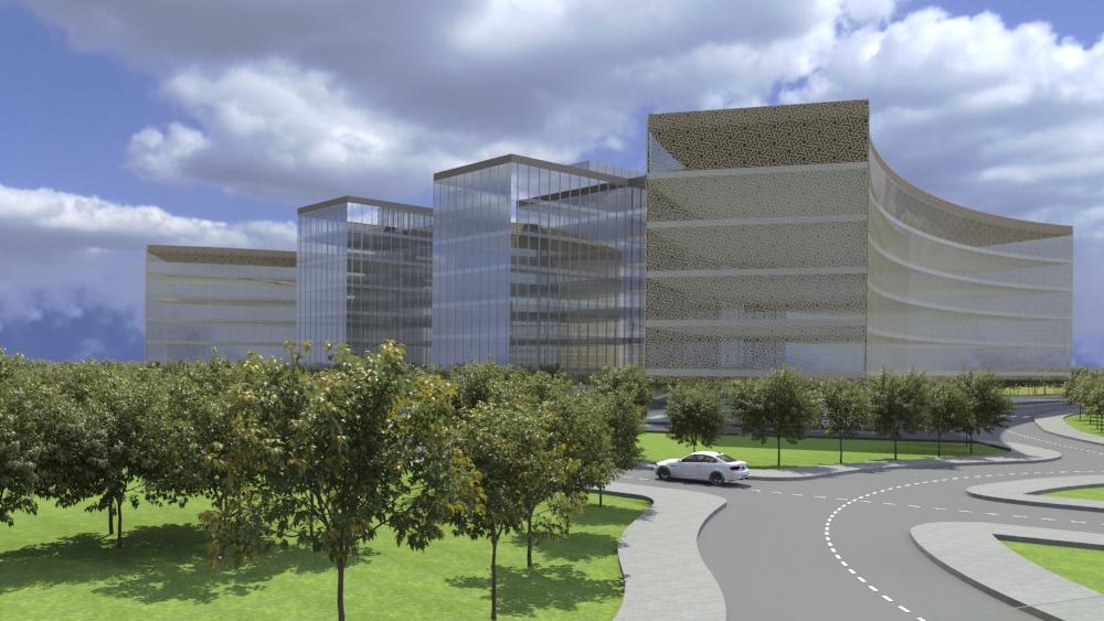 Vista de l'hospital. Façana principal.